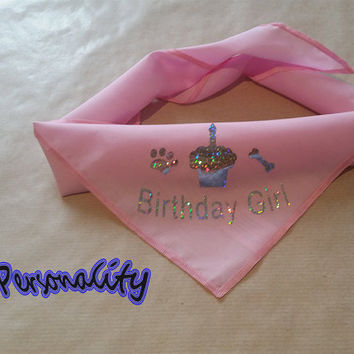 Birthday Girl Dog Bandana with Cake Print, Choice of Colours and Sizes FREE UK P&P Sparkle Print