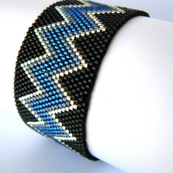 CIJ Sale Blue and Black Southwestern Jewelry Navy Chevron Design Peyote Cuff  Native American Inspired Beaded Bracelet Western Bead Weaving