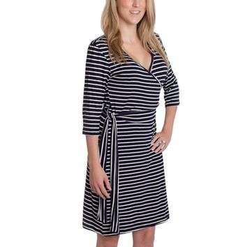 Whimsical Wrap Nursing Dress in Stripe