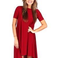 Kick The Dust Up Burgundy High Low Dress | Monday Dress Boutique