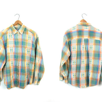 90s Button Up Shirt Southwestern Style Yellow Orange Green Plaid Shirt Colorful Long Sleeve Baja Shirt Hipster Womens Boho Shirt Medium