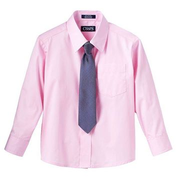 DCCKX8J Chaps Button-Down Shirt & Tie Set - Boys 4-7 Size
