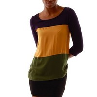 ABC 3/4 Top - Navy/Yellow/Green at Necessary Clothing