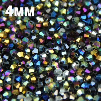 JHNBY 100pcs Bicone Austrian crystals loose beads supply surface color plating ,bracelet necklace Jewelry Making