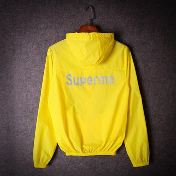 One-nice™ Summer tide brand men and women couples luminous luminous sunscreen clothing 3M reflective coat thin coat Yellow