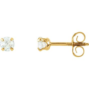 14K Yellow Gold Round Cubic Zirconia Stud Screw Back Threaded Earrings