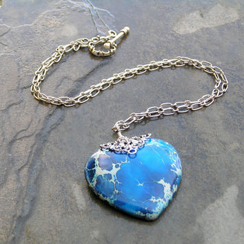 Blue Stone Heart Necklace, Lace Jasper, Silver Chain, Blue Jewelry, Heart Jewelry, Stone Jewelry, Jasper Jewelry, Big Pendant, Heart Pendan