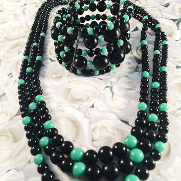 Vintage Jewelry Set, Three Strand Necklace And Matching Memory Wire Bracelet, Black And Peking Green, Vintage Jewelry, 1950's