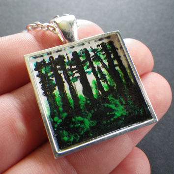 Pacific Northwest Forest- Trees- Ferns- Nature- OOAK- Original- Handpainted- Art Pendant- Silver Plated Necklace- 19 Inch- Gift for Woman