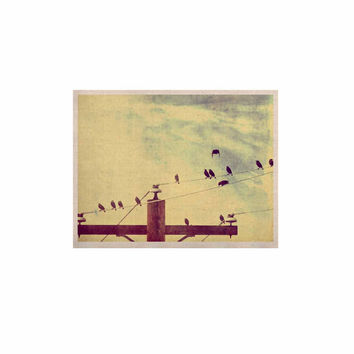 """Sylvia Coomes """"Vintage Birds On A Wire 1"""" Brown Vintage KESS Naturals Canvas (Frame not Included)"""