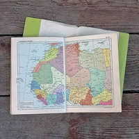 Vintage world atlas Geography map Historical maps Retro miniature books Travel destination Paper ephemera Travelling car Decoupage collage