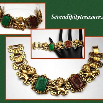 Book Chain Link Bracelet  Roman head   Glass Cameo Intaglio  gold plated  Green  Red Carnelian carved glass  vintage link bangle