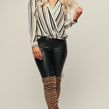 Adrianna Striped Top (Ivory/Multi)