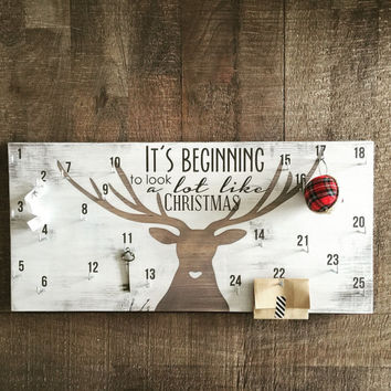 Advent calendar, christmas countdown sign, deer antler decor