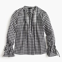 Tie-sleeve top in gingham