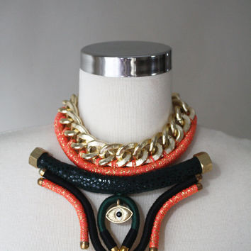 UTERUS - Mixed Media Necklace - Chunky Chain Necklace - Chain Choker - Geometric Necklace - Forest Green - Coral - Black - Gold - Neon