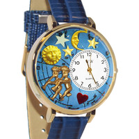 Whimsical Watches Gemini Royal Blue Leather And Goldtone Watch