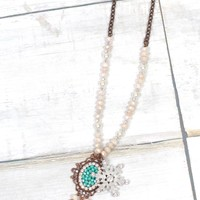Snowflake + Turquoise Pendant Beaded Necklace