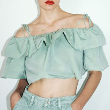 Green off-the-shoulder ruffled top