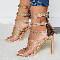 Sexy Trendy Watch High-heeled Shoes with Slender High heels and Round toes
