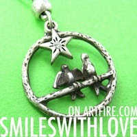 SALE - Love Dove Birds Hoop Star Charm Necklace in Silver