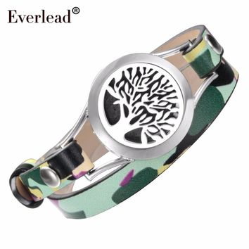 Diffuser Bracelet Everlead Tree of Life Wrap Bracelet New Design Camo Leather Essential Oil Ladies Stainless Steel