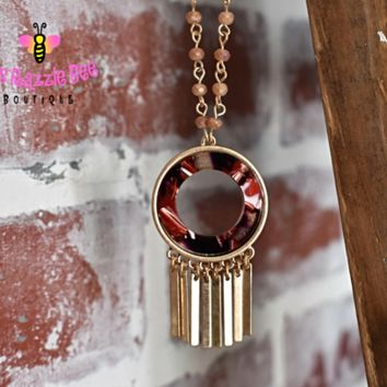 Metal Fringed Long Necklace