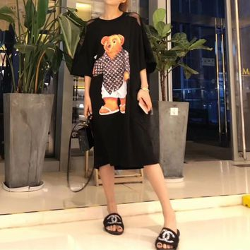 """Louis Vutitton"" Women Loose Casual Fashion Big Bear Print Short Sleeve T-shirt Dress"