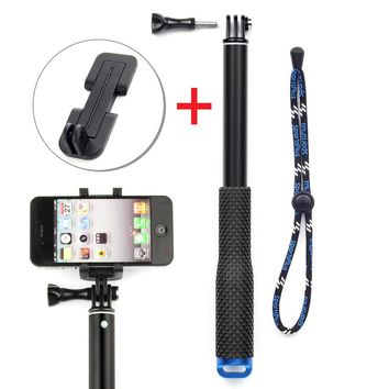 SOONSUN 37'' Telescopic Extendable Monopod Pole + Smart Phone Clip Holder for Cell Phone and GoPro Hero 3 3+ 4 5 6 SJCAM Camera