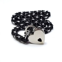 Slave Collar Black and Silver Byzantine Chainmail with Heart Lock
