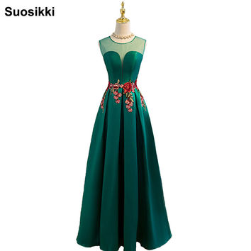 Suosikki New Prom Dress Long vestidos de festa A-line Flower cap sleeve Formal Evening Party Gown  Free Shipping Robe de soiree