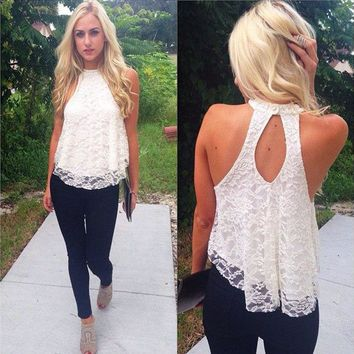 Sexy Womens Lady Clothing Loose Casual Sleeveless Lace Flower White O Neck Shirts Tops hollow out Blouse Ladies Summer Tops