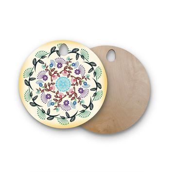 "Famenxt ""Nature Mandala"" Yellow Multicolor Round Wooden Cutting Board"