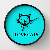 I LOVE CATS BLUE Wall Clock by catspaws