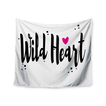 """Suzanne Carter """"Wild Heart2"""" Black Digital Wall Tapestry"""