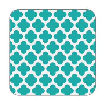 Coaster set of 4 in clover diamond pattern in turquoise color for Personalized coasters