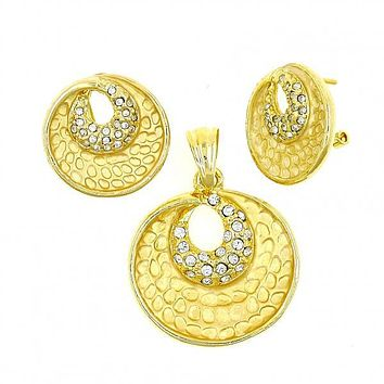 Gold Layered 10.59.0223 Earring and Pendant Adult Set, Moon Design, with White Crystal, Diamond Cutting Finish, Gold Tone