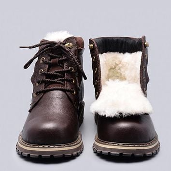 Natural Wool Winter Boots Style Full Grain Leather Sheep Fur Handmade Men Winter Snow Boots