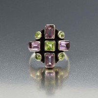 Silver Amethyst and Peridot Vintage Modernist Ring