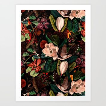 FLORAL AND BIRDS XIV Art Print by burcukorkmazyurek