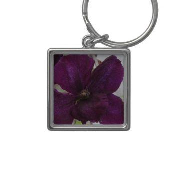 Purple Amethyst Clematis Blossom Makro Keychains from Zazzle.com