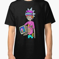 Cotton T Shirt Fashion Free Shipping Gildan Crew Neck Men Short-Sleeve Vaporwave Rick & Morty Black Premium Tee Shirts
