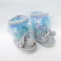 Handknitted Cute Baby Booties, Blue and Grey Booties, Fluffy Booties, UK Seller