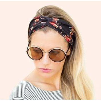 Women Bohemian Turban Twist Knot Head Wrap Floral Headband Twisted Knotted Hair Band Cotton Turban Headband 1PC