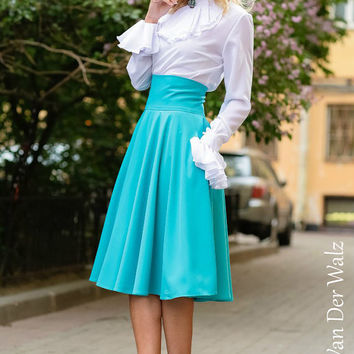 Turquoise Skirt Maxi . Skirt with Pocket. Viscose,Cotton  / High Quality Designer summer long skirt. Midi Skirt, plus size skirt available