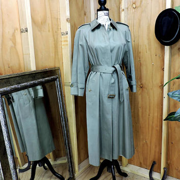 70s trench coat / full length trench coat / Sanyo for JusterWoman / 1970s vintage olive green trench / duster raincoat