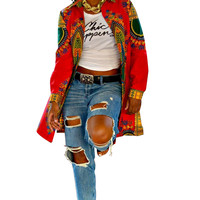 African Dashiki Red Jacket 22183