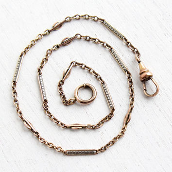 Vintage Rose Gold & White Gold Filled Pocket Watch Chain - Antique Art Deco Vintage Signed Speidel Swivel Clip Mens Two Tone Jewelry
