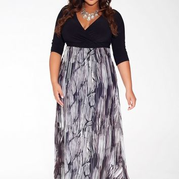 Aisha Plus Size Maxi Dress in Pewter Ribbon