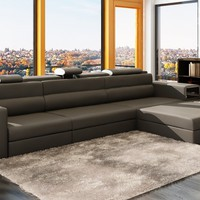 Divani Casa Polaris Mini - Contemporary Gray Bonded Leather Sectional Sofa